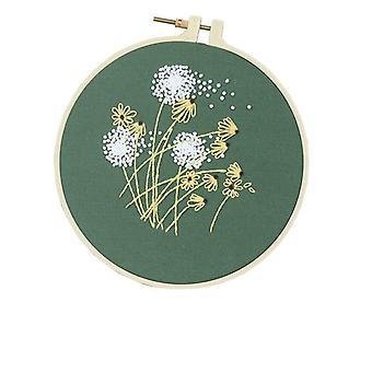 DIY Stamped Embroidery Starter Kit with Flowers Plants Pattern Cloth Color Threads Tools