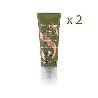 2 x Sanctuary Spa Green Smoothie Recharge Mask 75ml