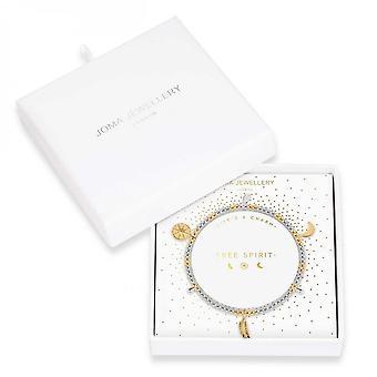 Joma Jewellery Life's A Charm Free Spirit Silver Gold Charm 17.5cm Stretch Bracelet 3898