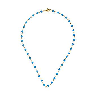 Gemshine choker necklace with blue sapphire gemstones in 925 silver plated
