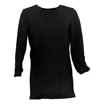 Denim & Co. Women's Top Active French Terry 3/4-Sleeve Tunic Black A383248