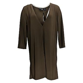 Women with Control Women's Top Como Jersey Overlay Tunic Brown A366017