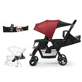 Foldable Twin Baby Stroller, Double Stroller Easy Folding Light Can, And Sit