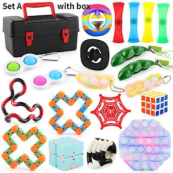 Fidget Toys Set sensoriale pacchetto Dna Stress Relief Balls con Fidget Hand Toys with Storage Box Autism Special Needs Education Sets