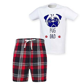 Herre Pug Far Tartan Kort Pyjamas Sæt
