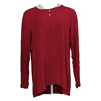Cuddl Duds Women's Top Softwear w/ Stretch Keyhole Front Crew Red A381690