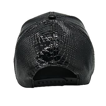 Women Leather Baseball Cap With Alloy Gold Eye Ornaments