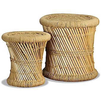 vidaXL stool 2 pcs. bamboo and jute