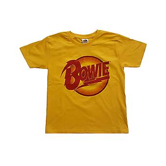 David Bowie Kids T Shirt Diamond Dogs Logo new Official Yellow Ages 3-14 yrs