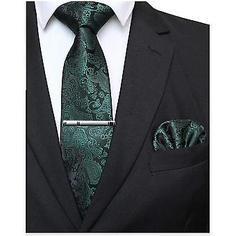 FengChun Grazis Paisley Elegante Herren Krawatte und Einstecktuch mit krawattenklammer Sets