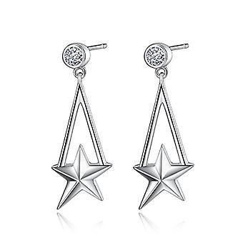 Geometric star silver earrings Sterling 925 dangling earrings for women - Gemshadow