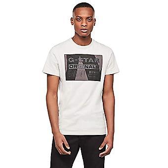 G-STAR RAW Layer Originals Logotyp Grafisk Rak T-Shirt, Cool Grey 336/1295, Large Mens