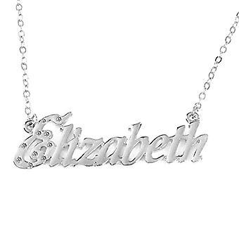 """L Elizabeth - 18 Karat Weißgold vergoldet Halskette, mit individuellem Namen, einstellbare Kette 16""""- 19"""", in Ref. 496330314261"""