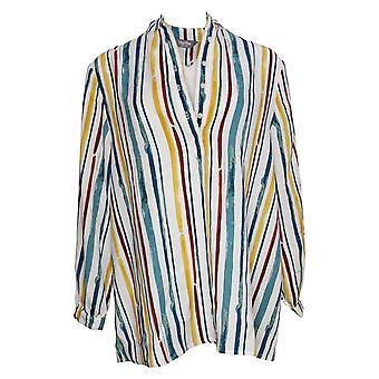 Martha Stewart Top A rayas de mujer blusa de manga larga Multi A342388