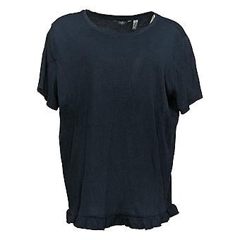 Hvem som helst kvinners topp crinkle strikket t-skjorte med ruffle hem blå a353784