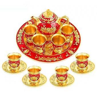 Hantverk Swastik Marble Pooja Thali Arabiska Dallah präglad set med bricka och kopp