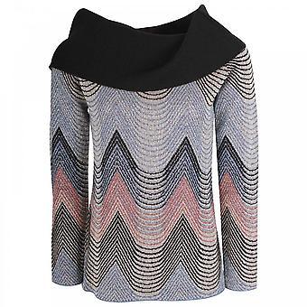 Latte Cowl Neck Chevron Print Knitted Jumper