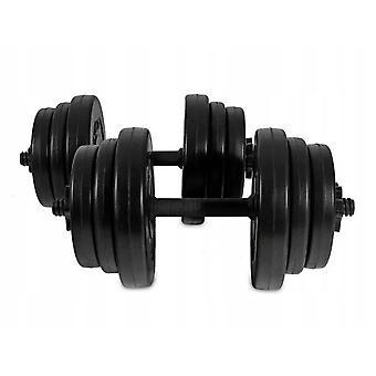 Dumbbell dumbbell set 2 x 10 kg – 12 dumbbell discs – Black