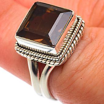 Smoky Quartz Ring Size 7.25 (925 Sterling Silver)  - Handmade Boho Vintage Jewelry RING66584