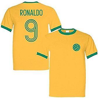 الإمبراطورية الرياضية رونالدو 9 أسطورة البرازيل رينر الرجعية تي شيرت الأصفر / الأخضر - متوسطة