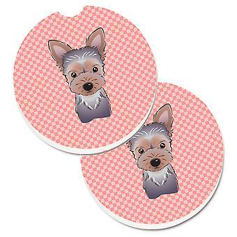 Caroline's Treasures Checkerboard Pink Yorkie Puppy Set di 2 Cup Holder Car Coasters BB1232CARC, 2.56, Multicolor