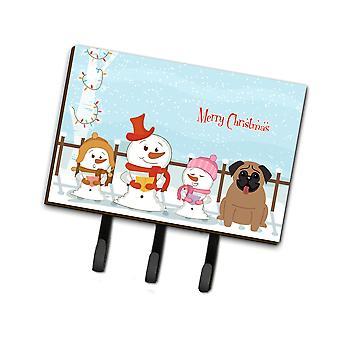 Caroline'S Treasures Merry Christmas Carolers Pug Brown Leash Or Key Holder Bb2336Th68, Triple, Multicolor
