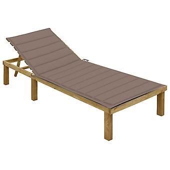 lettino vidaXL con taupe pad impregnato di legno di pino