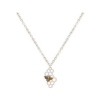 Gemshine necklace bee on honeycomb, 925 silver or gold plated - Made in Spain