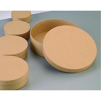 12.5cm Rond Flat Paper Mache Box avec couvercle à décorer | Boîtes Papier Mache