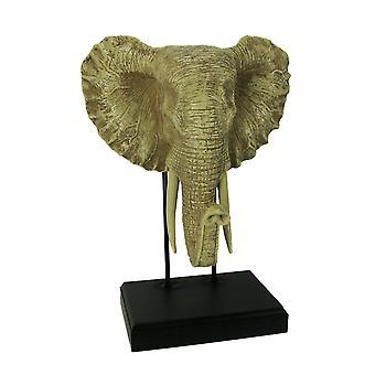 Elefante blanco cabeza escultura en Museo montaje Stand