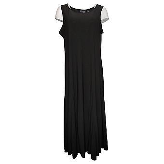 Kvinder med Kontrol Petite Dress Como Jersey Trykt Godet Maxi Black A353269