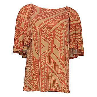IMAN Global Chic Women's Top Printed Cape-Sleeve Keyhole Back Red 742647