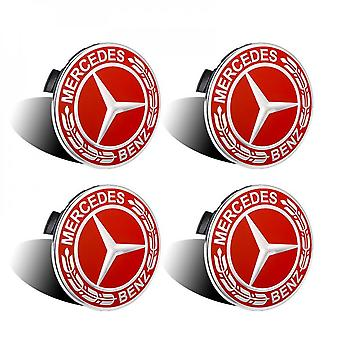 A1714000025, Car Logo Badge For Wheel Center 4 Pieces, For Mercedes Benz (red 75mm)