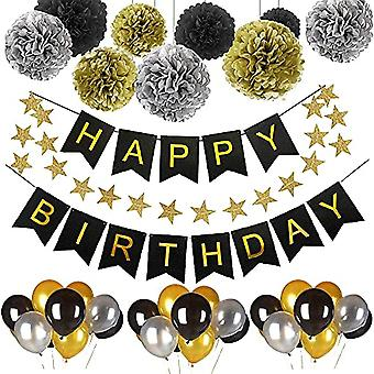 Gold Birthday Party Decorations ,birthday Party Supplies Of Happy Birthday Banner,birthday Balloons,tissue Paper Pompoms And Star Garland