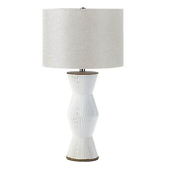 Nikki Chu Gable Ridges Table Lamp - White with Beige Shade, Pack of 1