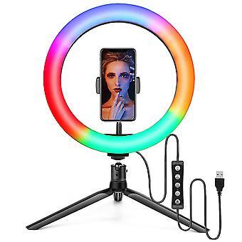 Selfie Flash Dimmable 10 RGB LED Ring Light Com Suporte e Suporte telefônico e porta-malas