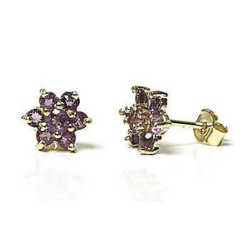 HS Johnson HSJ-35796 Women's Amethyst Cluster Stud Earrings