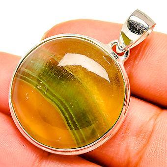 "Green Fluorite Pendant 1 1/8"" (925 Sterling Silver)  - Handmade Boho Vintage Jewelry PD10627"