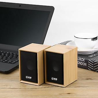 1 זוג עץ USB טעינה 3.5mm סטריאו בס רמקול שולחן העבודה