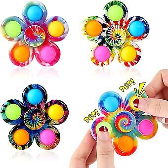 4pcs Tie-dye Push Poppers Pop Bubble Simple Dimple Spinner Jouets