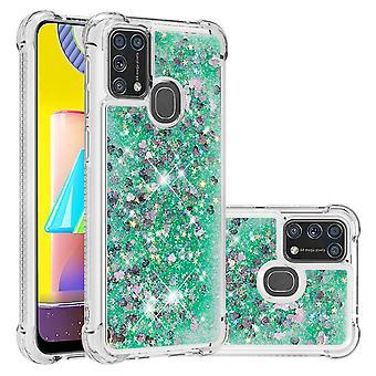 Boîtier pour Samsung Galaxy M31 Bumper Cover Sparkly Glling Bling Flowing Liquid - Vert