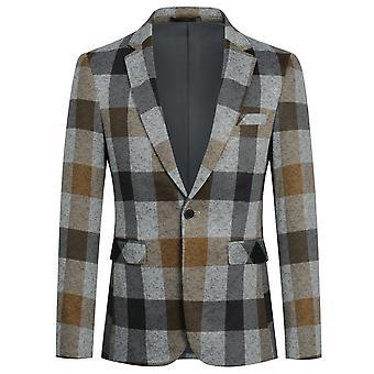 Yunyun Homme Plaid Blazer One Button Manteau décontracté élégant