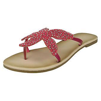 Ladies Savannah Beaded Starfish tå innlegg sandaler F00007