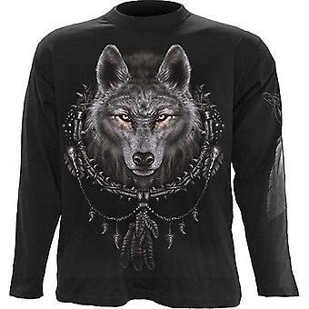 Spiraal-Wolf Dreams-t-shirt met lange mouwen, zwart