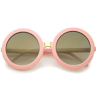 Womens Retro Fett farbige Spiegel übergroße Runde Sonnenbrille 56mm