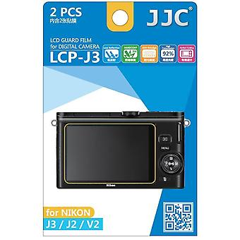JJC Guard Film Crystal Clear Screen Protector voor Nikon 1 serie J2, J3, V2 - geen snijden (2 Film Pack)