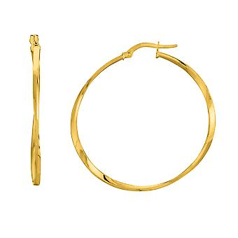 14K Gelb Gold glänzend Squaretube verdreht Creolen, Durchmesser 40mm