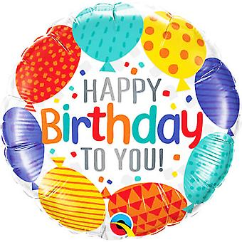Qualatex 18 Inch Happy Birthday To You Circle Foil Balloon