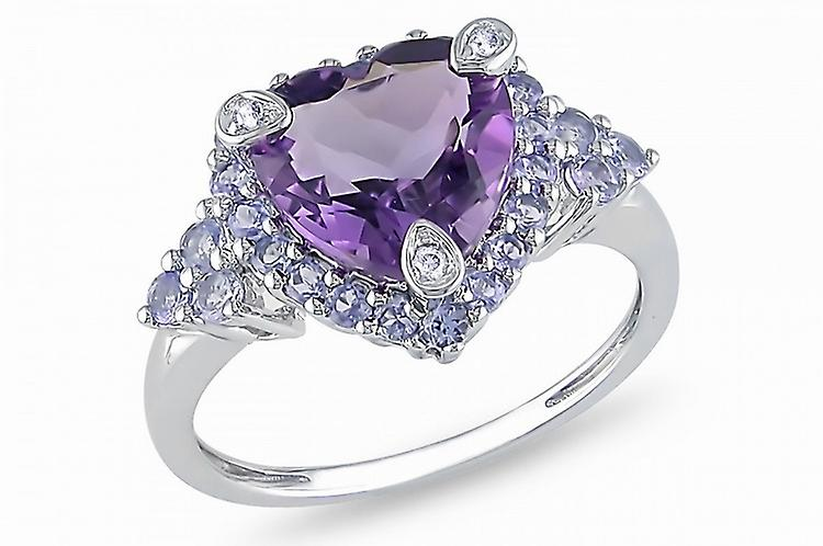 Affici Sterling Silver Halo Ring  18ct White Gold Plated ~ 1.3 Carat Heart Cut Amethyst CZ Gem