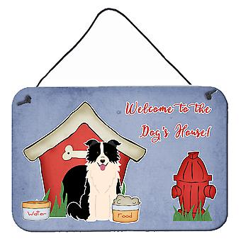 Dog House Collection Border Collie Black White Wall or Door Hanging Prints